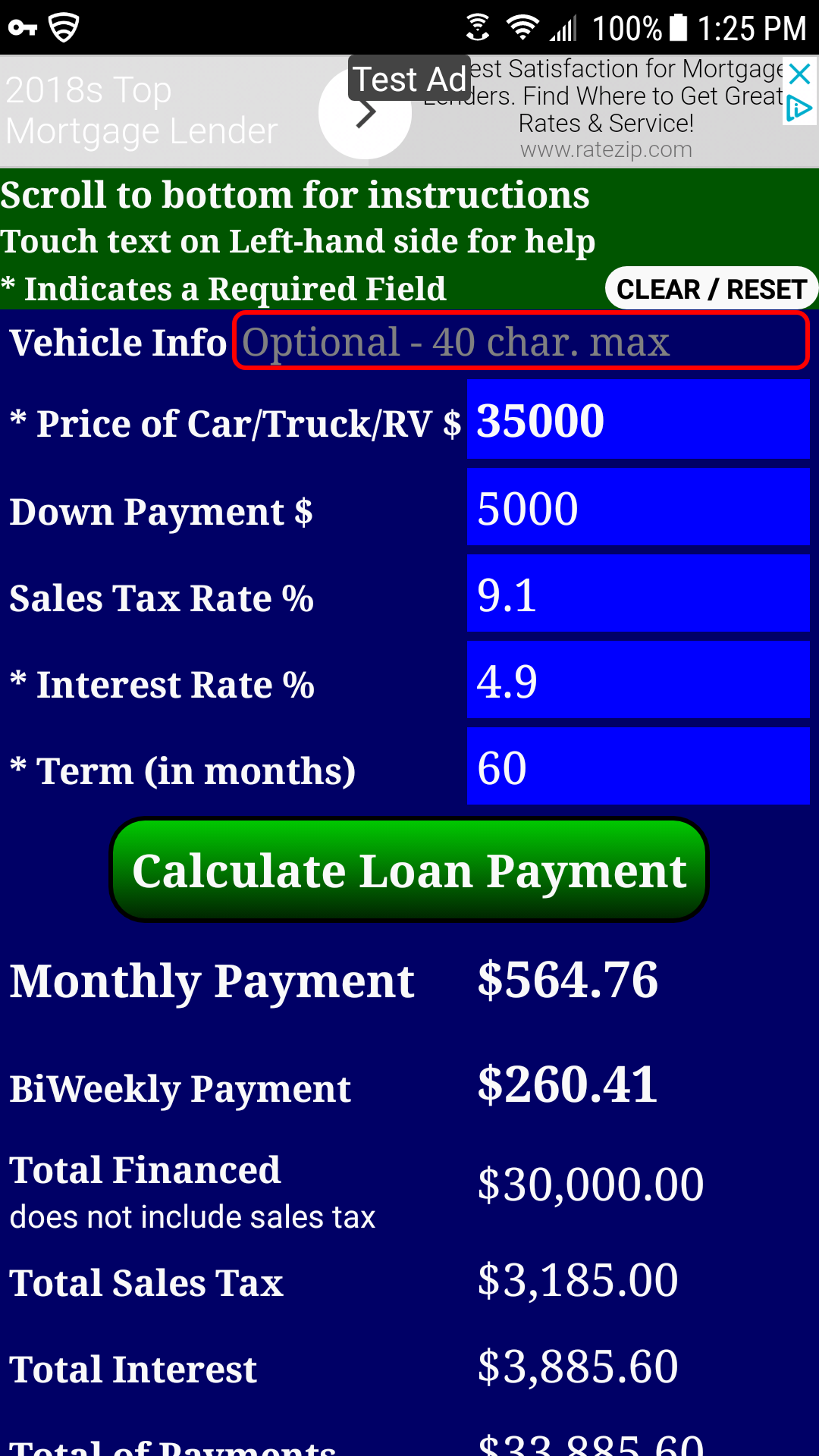 Car Finance Payment Calculator >> Auto Car Truck Rv Loan Payment Calculator Free