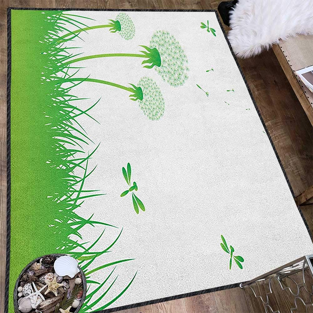 Dragonfly Modern Area Rug with Non-Skid,Ecology Background with Dandelions Greenland Grass Habitat Nature Print Anti-Static,Water-Repellent Lime Green White 71''x83'' by Philip C. Williams