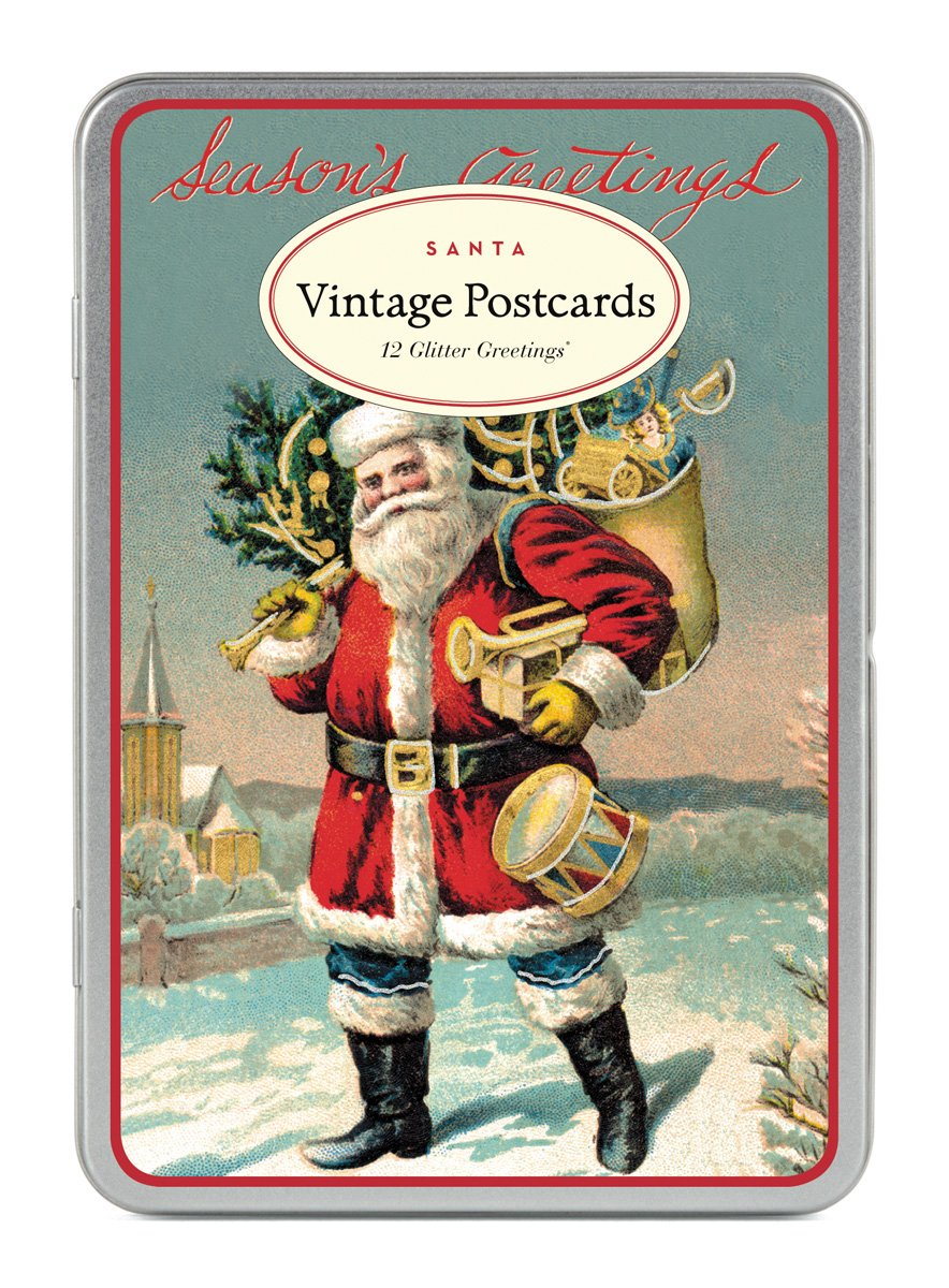Cavallini Vintage Santa Glitter Greetings, 12 Assorted Glittered Postcards Per Tin Cavallini & Co. GG/CHRSAN