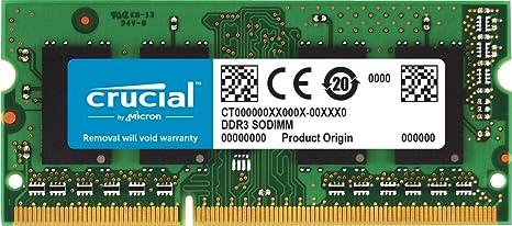 Crucial 4GB Single DDR3//DDR3L 1866 MT//s PC3-14900 Unbuffered SODIMM 204-Pin