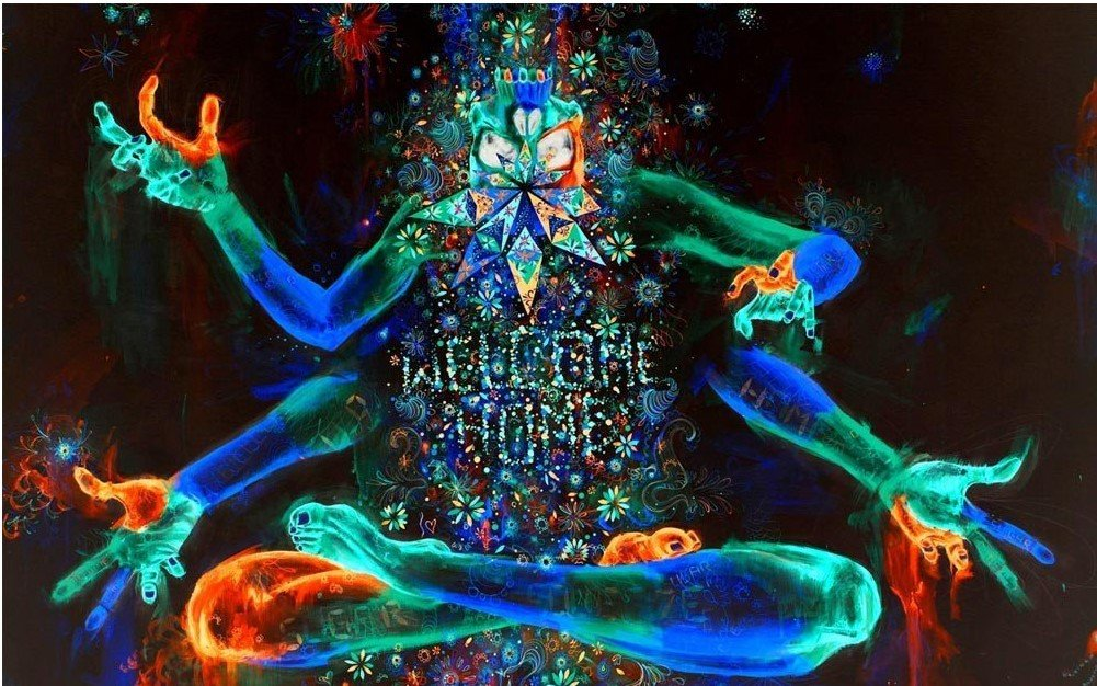 Multicolor Buddha with Many Hands Meditation Psychedelic Mandala Tapestry Yoga Mat Wall Decoration (58H x 78W, Meditation) Shukqueen