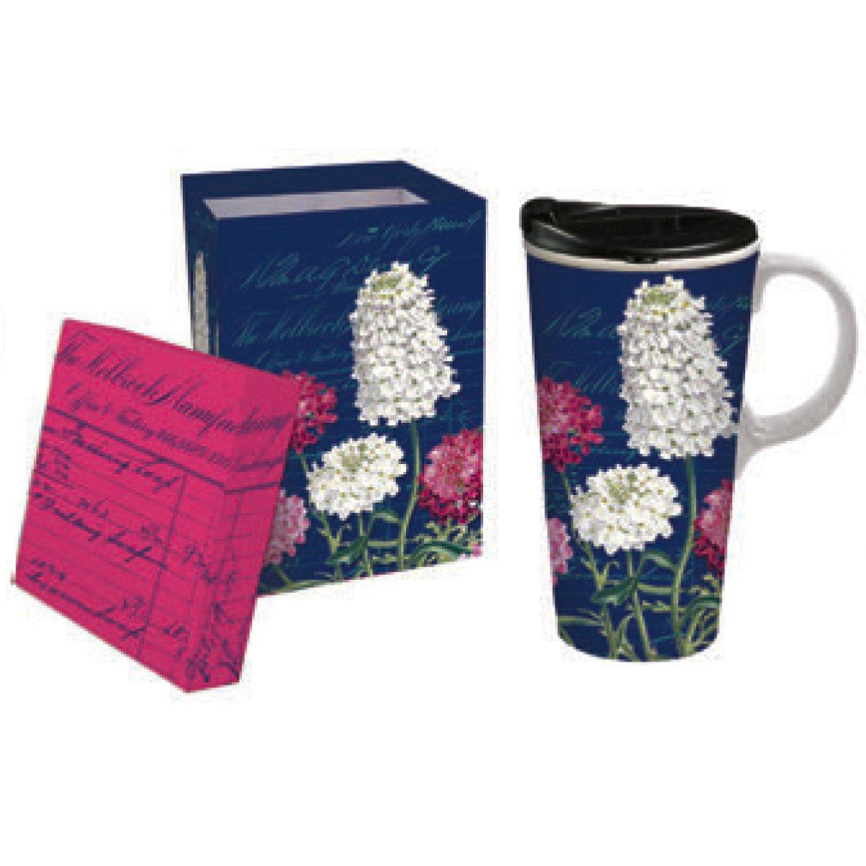 Cypress Home Boho Beat Ceramic Travel Coffee Mug with Gift Box, 17 ounces