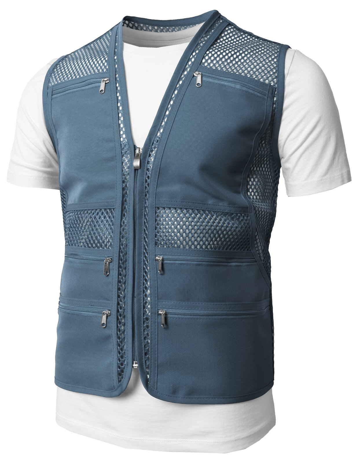H2H Mens Casual Work Utility Hunting Travels Sports Mesh Vest With Pockets Blue US M/Asia L (KMOV086)