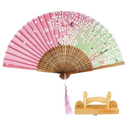 Buy Segolike Portable Folding Fan Japanese Sakura Hand Held Fan Silk Awesome Japanese Fan Display Stand