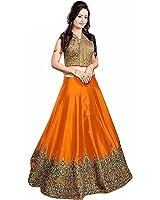 Woman Style Women's Georgette Lehenga Choli (Ws_002 Minaxi Orange_Orange_Free Size)