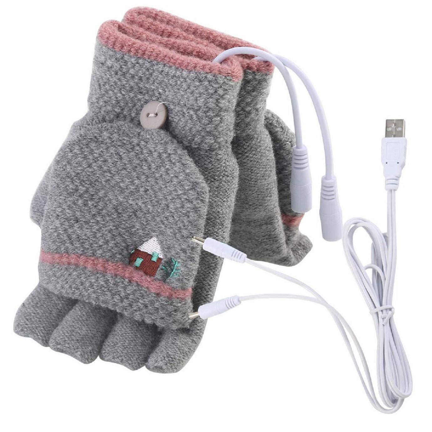 Dartphew Home 1 Pair of Heating Gloves Women Men USB Heated Mitten Full&Half Finger Winter Warm Knit Hand Gloves Comfortable Washable Design Double-Sided Heating (Temperature Range:40(±5)°C)