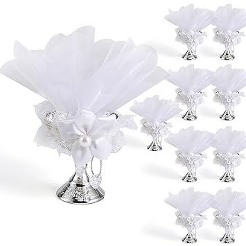 Gastgeschenke Hochzeit Taufe Kommunion Deko Mandeln Spruch Blütenbukett weiß