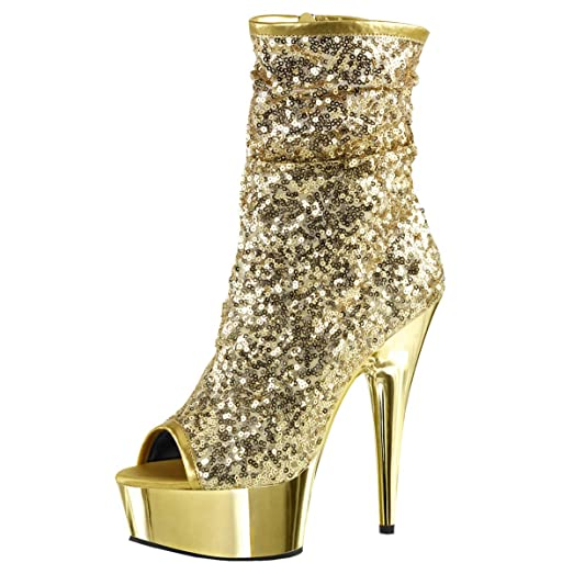Amazon.com | Womens Gold Sparkly Heels Sequin Platform Boots Zip ...