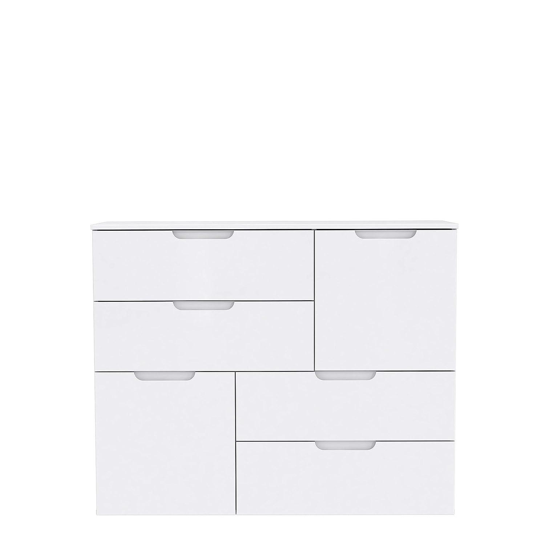 Holz NEWFACE Moderne Kommode mit Hochglanzfront 114.9 x 34.1 x 92.9 cm Wei/ß Hochglanz