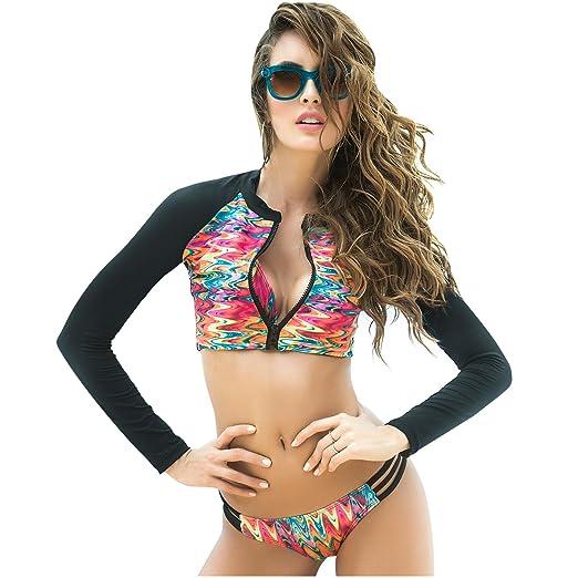 Mapalé Womens Sporty Rashguard Swimsuit 3 Pieces Set | Vestido de Baño Mujer