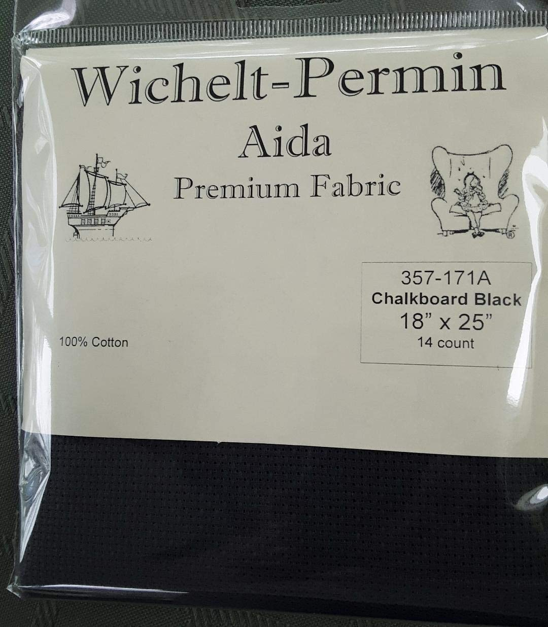 Wichelt Permin Premium AIDA Cross Stitch Fabric 14 Count Chalkboard Black 18 x 25