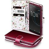 Xperia L1 Cover, Terrapin Handy Leder Brieftasche Case Hülle mit Standfunktion Kartenfächer für Sony Xperia L1 Hülle Rot mit Blumen Interior