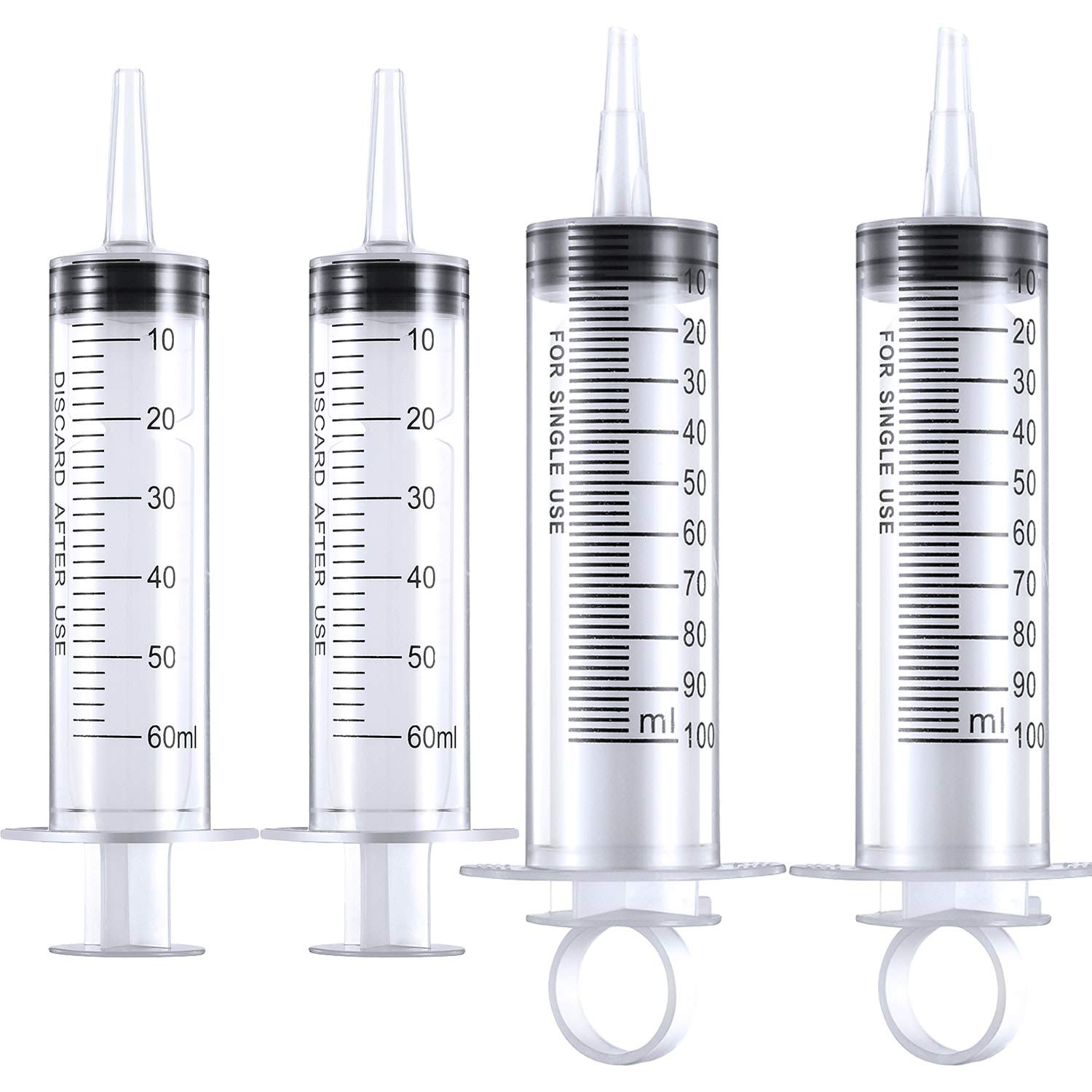 Frienda 4 Pack Large Plastic Syringe for Scientific Labs and Dispensing Multiple Uses Measuring Syringe Tools 60 ml and 100 ml