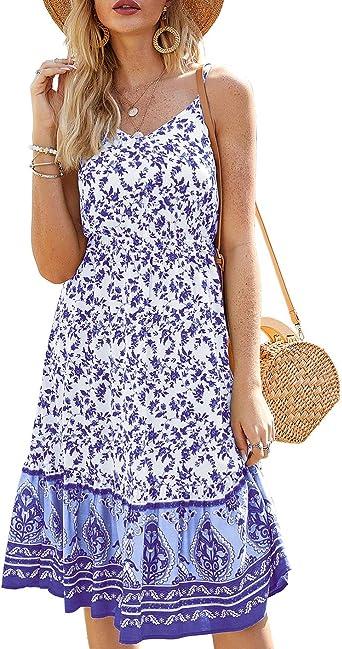 Womens Summer Casual Boho V Neck Floral Beach Midi Dress