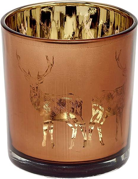 EDZARD Portavelas de cristal Dian, color cobre, diseño de ciervo, altura de 8 cm