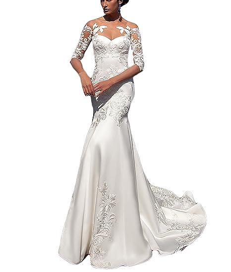 6ee927ba49 BEAUTBRIDE Womens Sexy Satin Wedding Dress 1 2 Sleeve Lace Mermaid Bridal  Gown Ivory 2