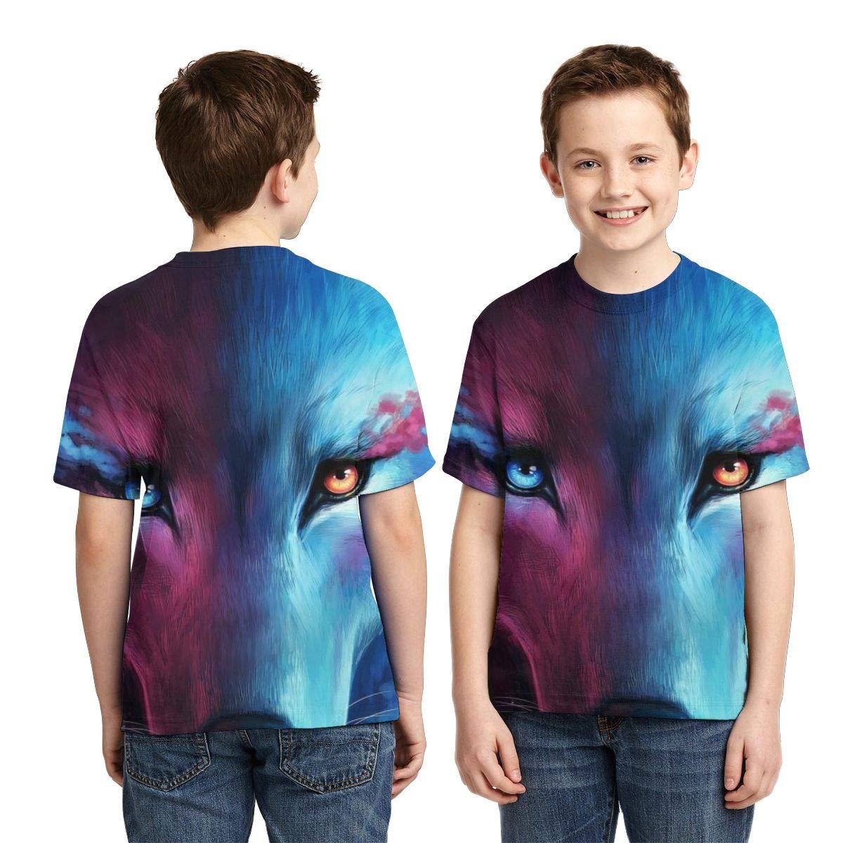 Boy Youth Kids Humor T-Shirt Short Sleeve Tee Cool Wolf