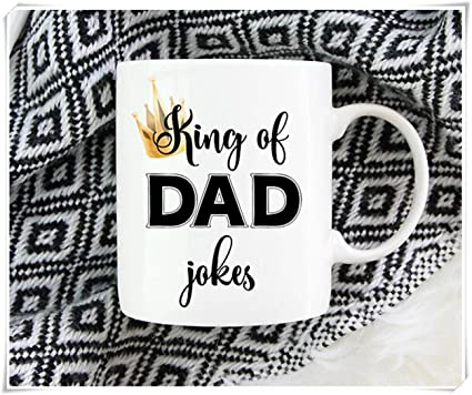 Fathers Day Gift King Of Dad Jokes Mug Funny Coffee