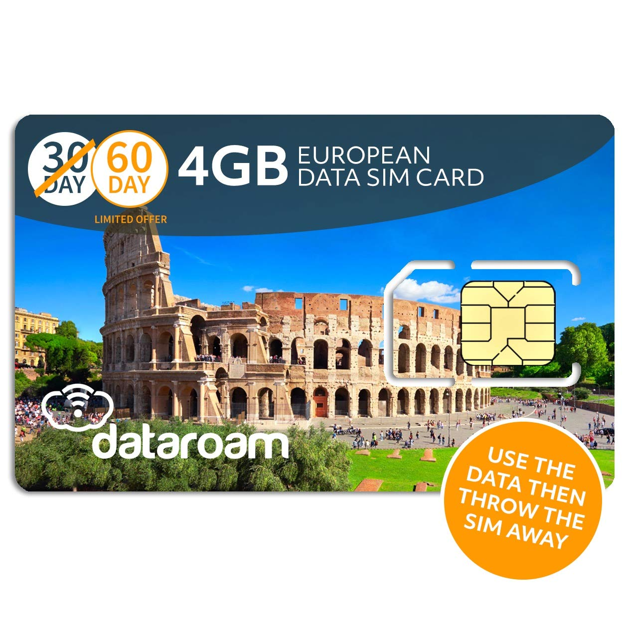 dataroam Prepaid 4G Europe Data SIM Card - Europe 4GB Bundle - 36 Countries - 3-in-1 SIM - Cellhire by Cellhire