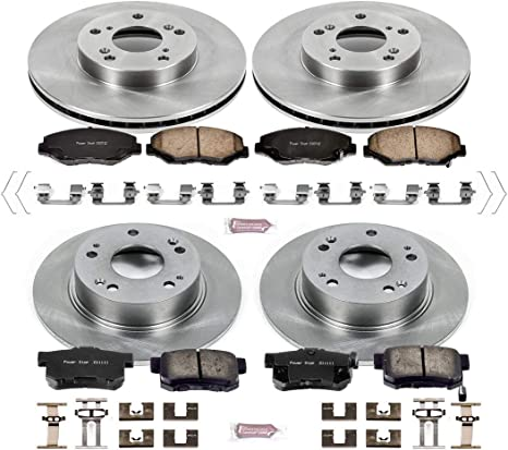 Power Stop CRK5022 KCOE1133A Autospecialty Replacement Front and Rear Kit Rotors Pads and Brake Calipers