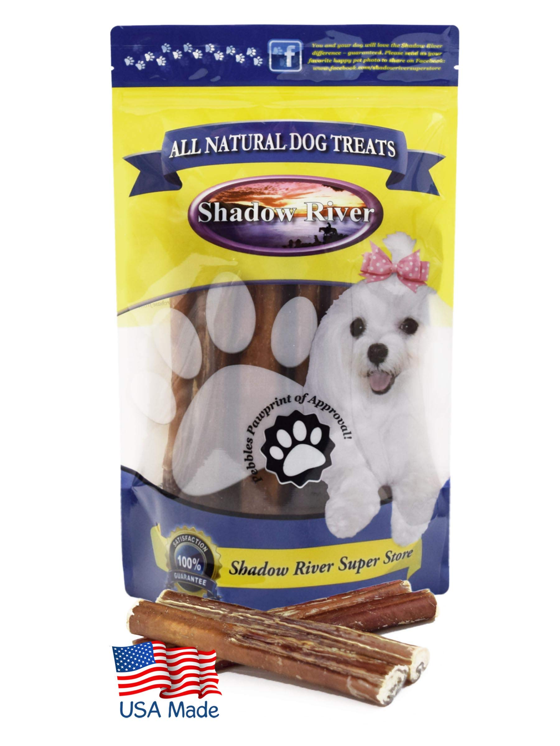 Shadow River 25 Pack 6 Inch Thick All Natural Beef Bully Sticks for Dogs