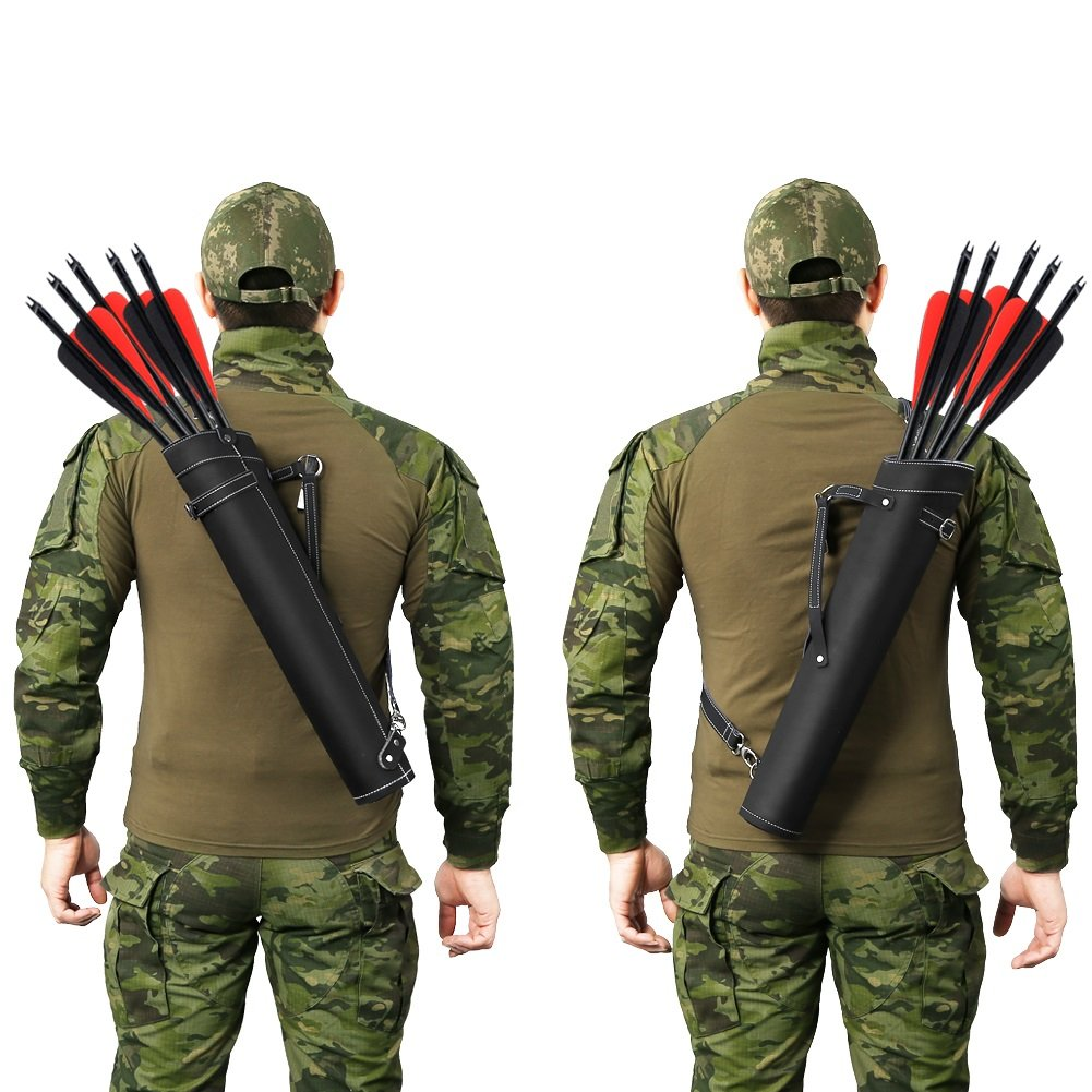 PELLOR Leather Tactical Hunting Quiver Archery Waist Crossbody Arrow Holder Bag (Black, Size: 20.3x4.8in)