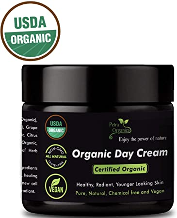 Luxury USDA Certified Organic Day Cream for Face and Eye Area -Organic Natural Daily Face Moisturizer for All Skin Types, Including Sensitive Skin – 100 Natural Cream for Daily Use – 2 fl.oz 60ml