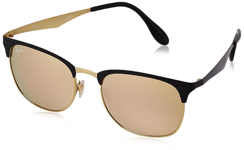 fa2e1b22a6 Amazon.com  Ray-Ban METAL UNISEX SUNGLASS - TOP SHINY BLACK ON GOLD Frame  LIGHT BROWN MIRROR PINK Lenses 53mm Non-Polarized  Clothing