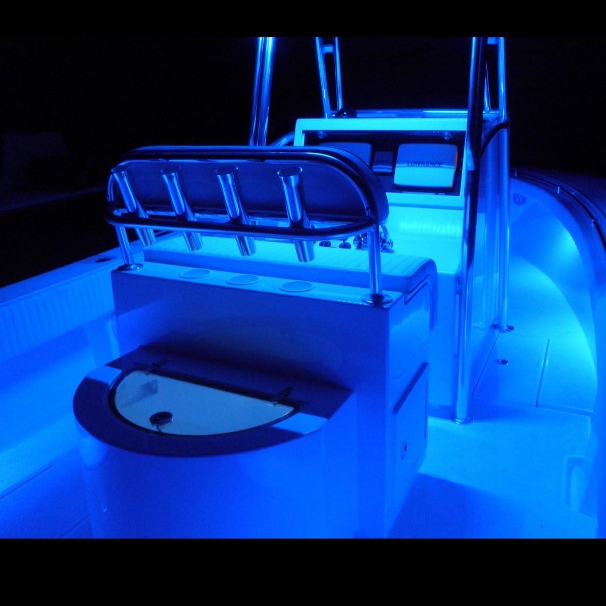 MarineLED Blue Boat Waterproof LED Under Gunnel Lights 12V Flexible Cuttable 16ft Bright2