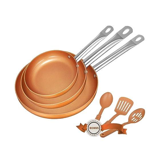 DEIK Juego de Sartenes | Sartén | Sartenes Antiadherentes Induccion con 3 espátulas y cuchara | Mango de acero inoxidable | Libre de PFOA | Apto para ...