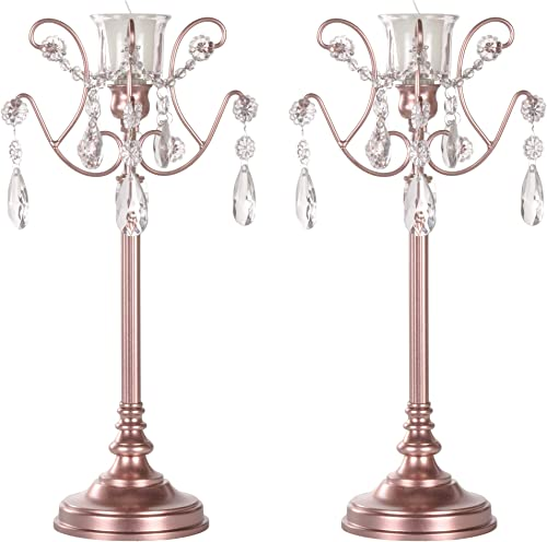 AMALFI D COR 2-Piece Rose Gold Metal Candelabra Set