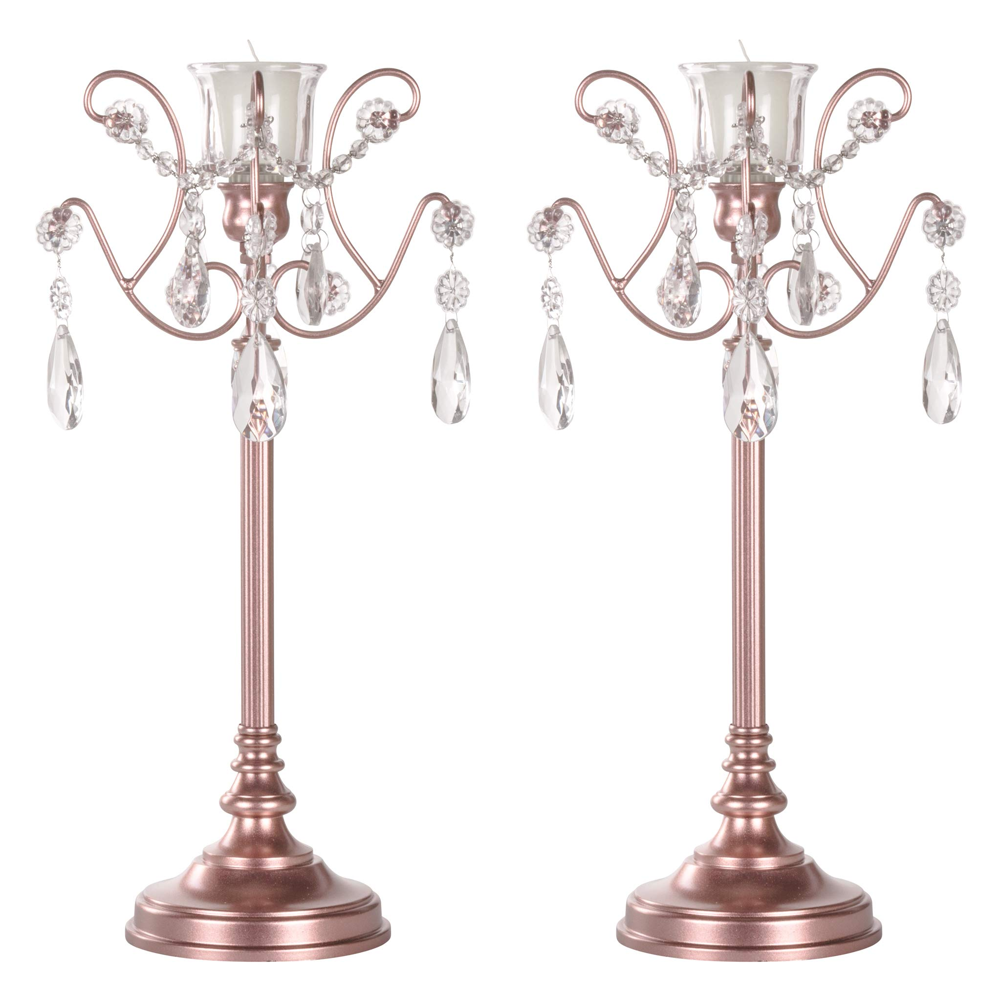 Amalfi Décor 2-Piece Rose Gold Metal Candelabra Set, Votive Candle Taper Candlestick Holder Unity Accent Stand