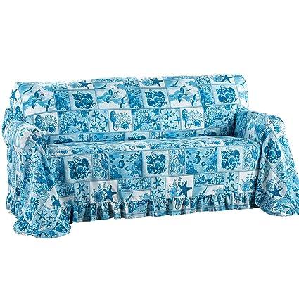 Terrific Coastal Decor Blue Ruffled Furniture Throw Cover For Living Room Blue Loveseat Pdpeps Interior Chair Design Pdpepsorg