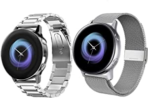 Acestar Compatible Samsung Galaxy Watch Active 2 40mm/44mm Bands, 20mm Stainless Steel Metal Band+ Mesh Strap Bracelet Replacement for Samsung Galaxy Watch Active 2 /Galaxy Watch 42mm(Silver)