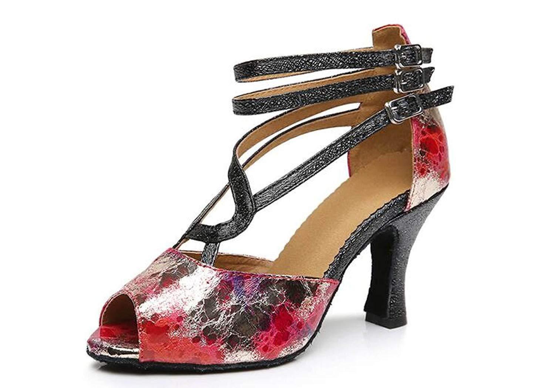 Lateinamerikanische Tanzschuhe für Damen Salsa Tango Chacha Samba Modern Jazz Schuhe Sandalen High Heels rotheeled6cm-UK3.5   EU34   Our35