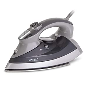 Maytag M400 Speed Heat Steam Iron & Vertical Steamer with Stainless Steel Sole Plate, Self Cleaning Function + Thermostat Dial