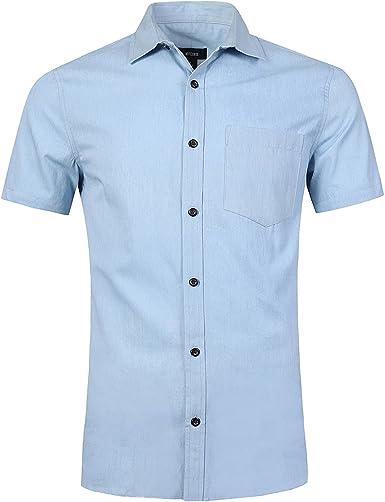 NUTEXROL Camisa de Hombre Camisa Vaquera para Verano Camisa de Estilo Retro, Camiseta Casual de Manga Corta, Varios Estilos(Cada Estilo Tiene 6 Tallas): Amazon.es: Ropa y accesorios