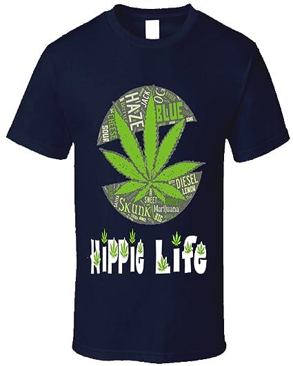 Hippie Life Marijuana T Shirt Stoner 420 Pot Leaf Smoker Cannabis (small, navy blue)