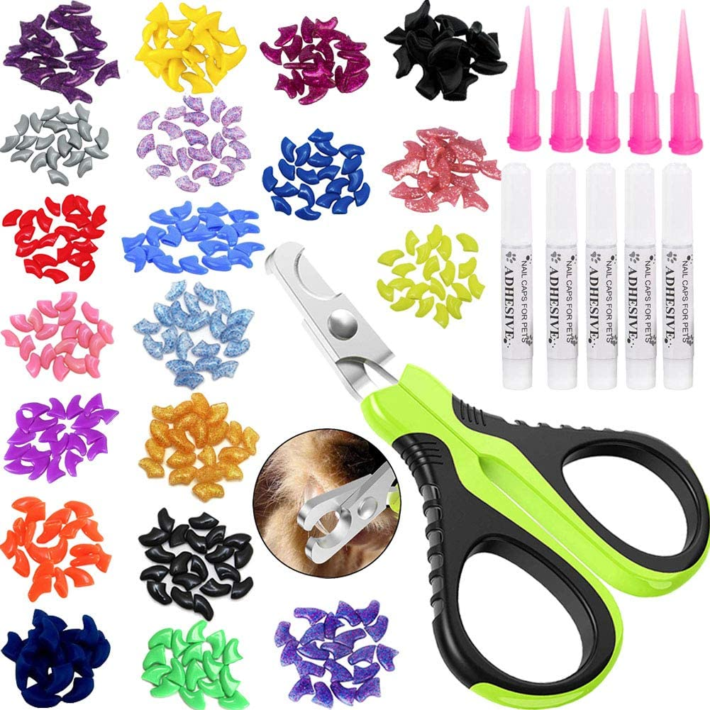 VICTHY 100pcs Cat Nail Caps with Clipper Set, Pet Cat Nail Clipper Cat Soft Claws Nail Covers for Kitten Cat Claws with Adhesive and Applicators Extra Small/Kitten(5 DIFFERENT COLORS)