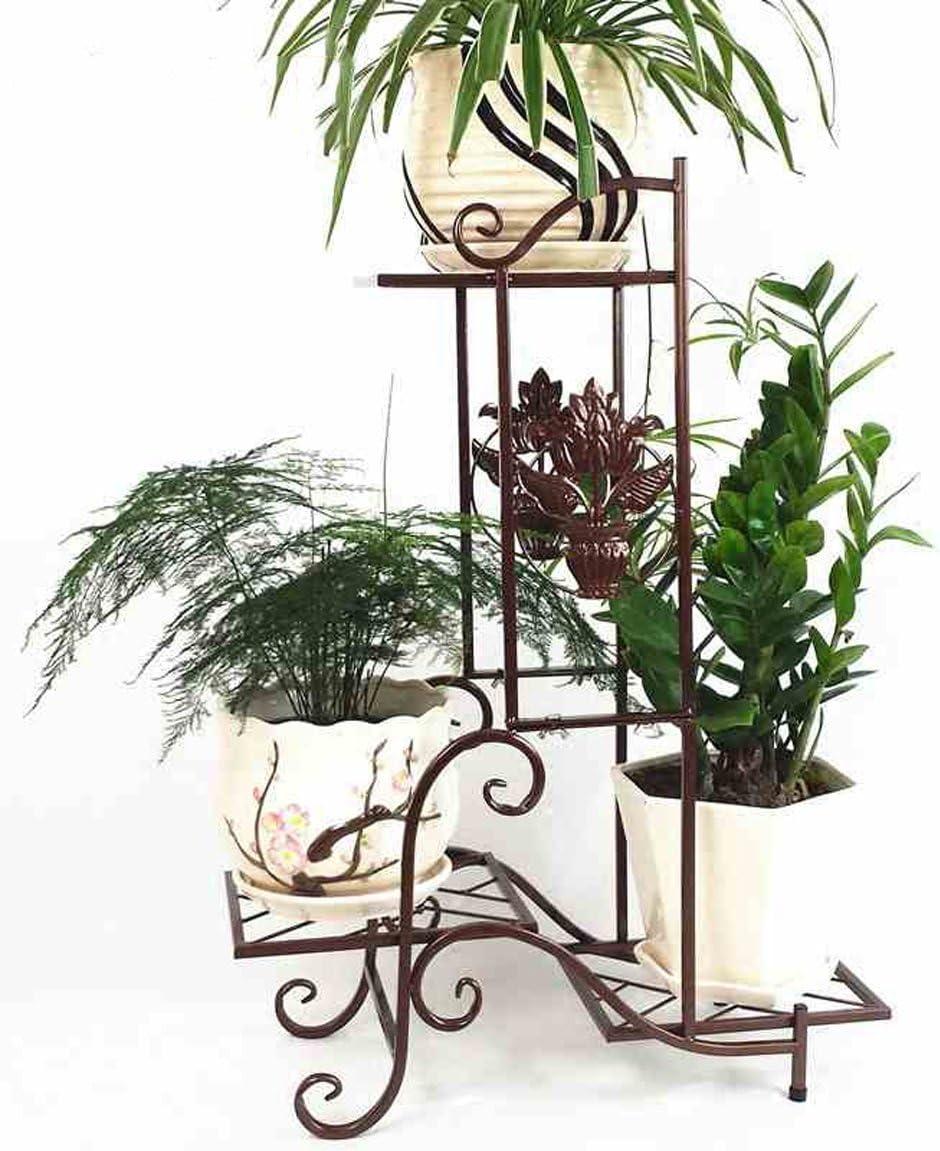 LRW Wohnzimmer im europäischen Stil, mehrstöckiges Blumenregal, Indoor-Balkon, Hackfleisch, grüne Spitze, Chlorophytum-Blumenständer, Blumenständer, braun.
