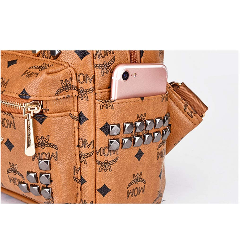 DLTEY Frauen Rucksack Niet Druck Freizeit Reise Handtasche Schultertasche (Farbe (Farbe (Farbe   braun, größe   M) B07P7771XL Rucksackhandtaschen Schön 333f49