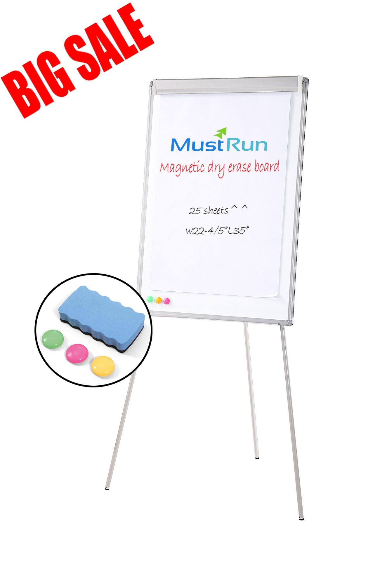 MustRun 28''x40''-Tripod Whiteboard,Magnetic Dry Erase Board/ Flipchart Easel Whiteboard