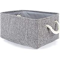 AUMA Collapsible Linen Fabric Storage Basket with Handles -Foldable Decorative Basket Rectangular Fabric Basket for…