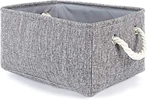 AUMA Collapsible Linen Fabric Storage Basket with Handles -Foldable Decorative Basket Rectangular Fabric Basket for Organizing Nursery Home Closet & Office Shelf, Clothes, Toys,Fabric Organizer Bins, Dark Grey