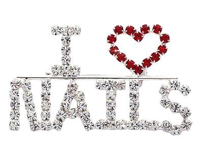 I Love Nails Word Heart Manicurist Brooch Pin Nail Salon Jewelry
