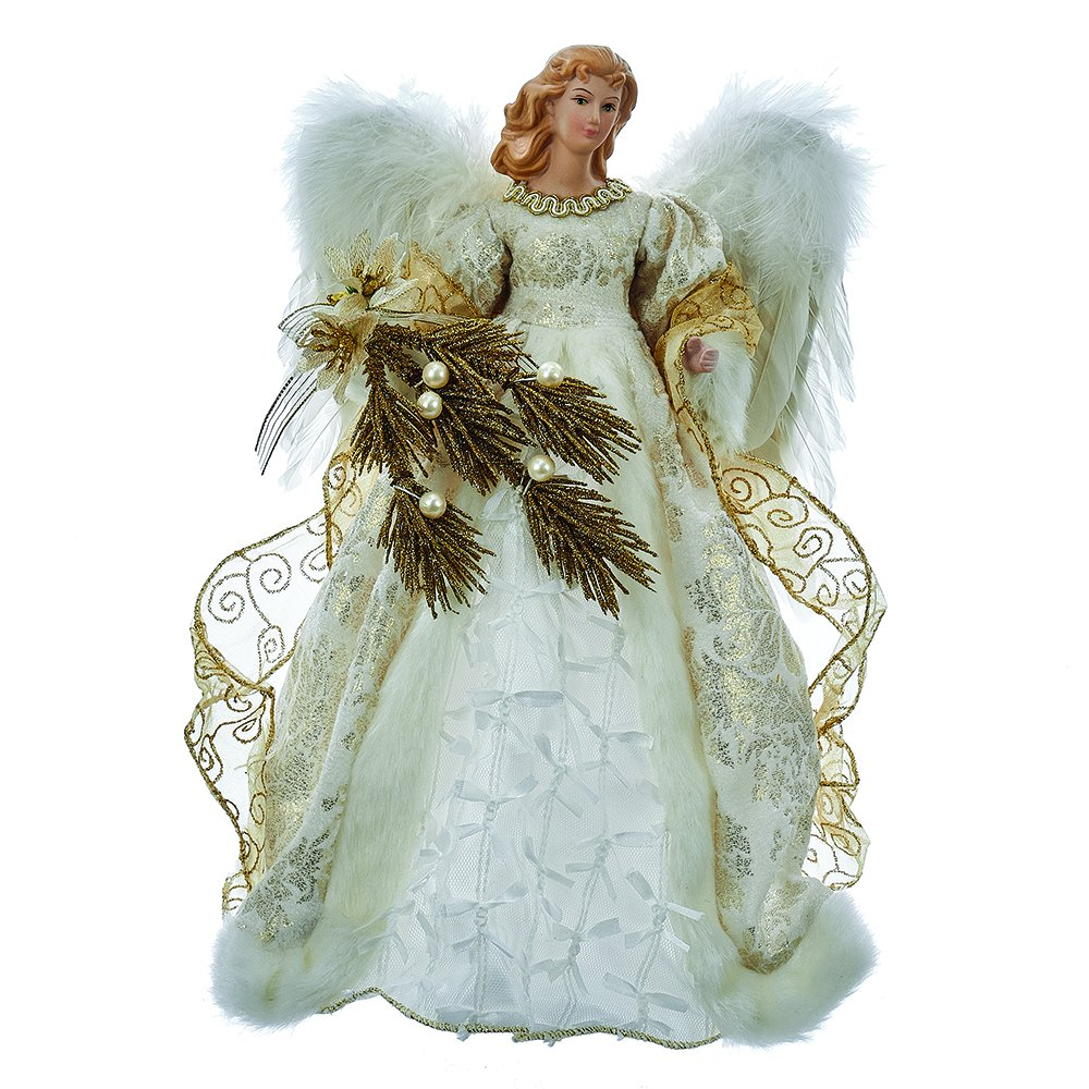 Kurt Adler 14-Inch Fabric Ivory and Gold Angel Treetop J8966