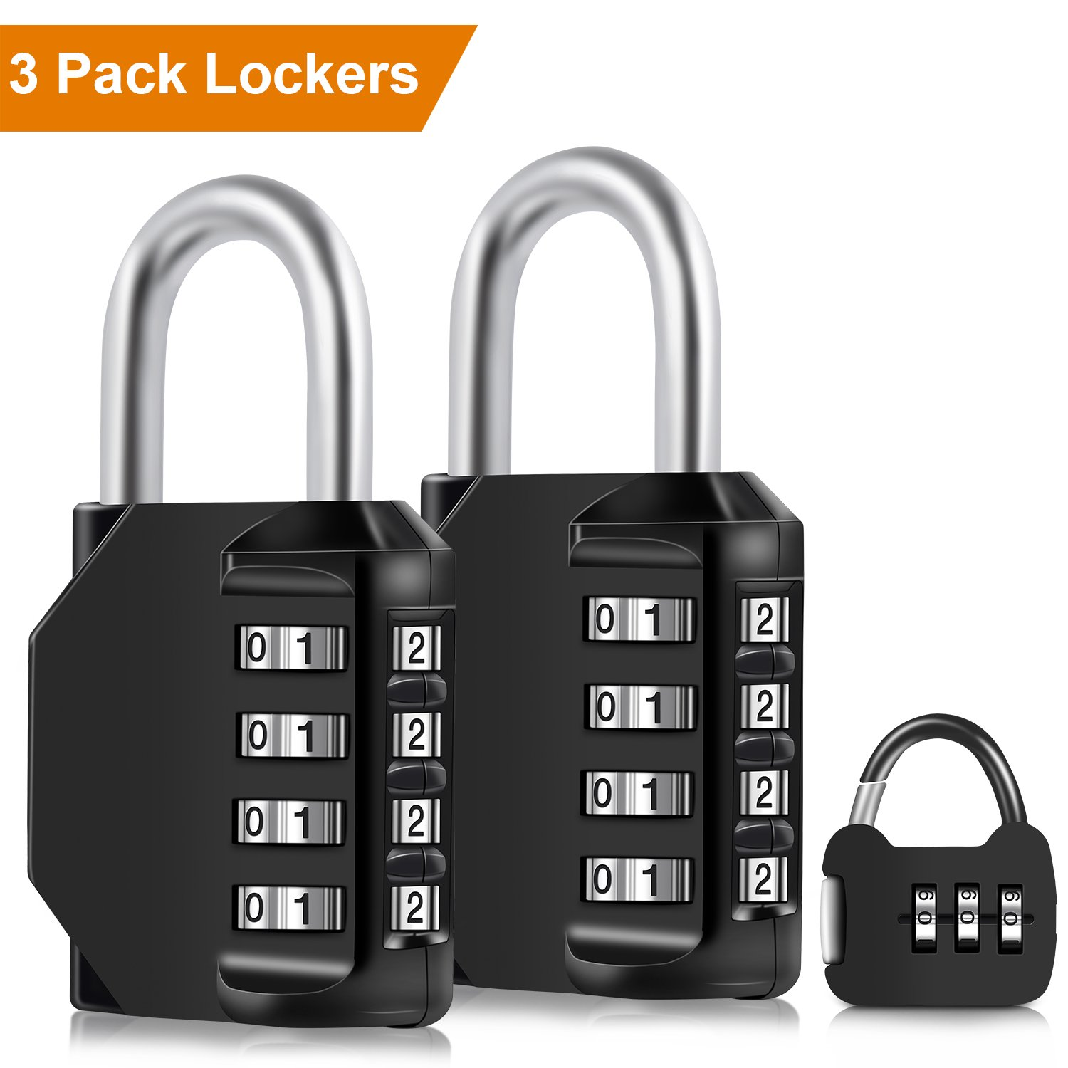 iHomy 3-Pack 4-Digit Weatherproof Combination Portable Padlocks, 2-Pack Lock Padlock for School, Employee, Outdoor, Gym Locker, Case, Toolbox, Fence, Cabinet with Mini 1-Pack (Black) by iHomy