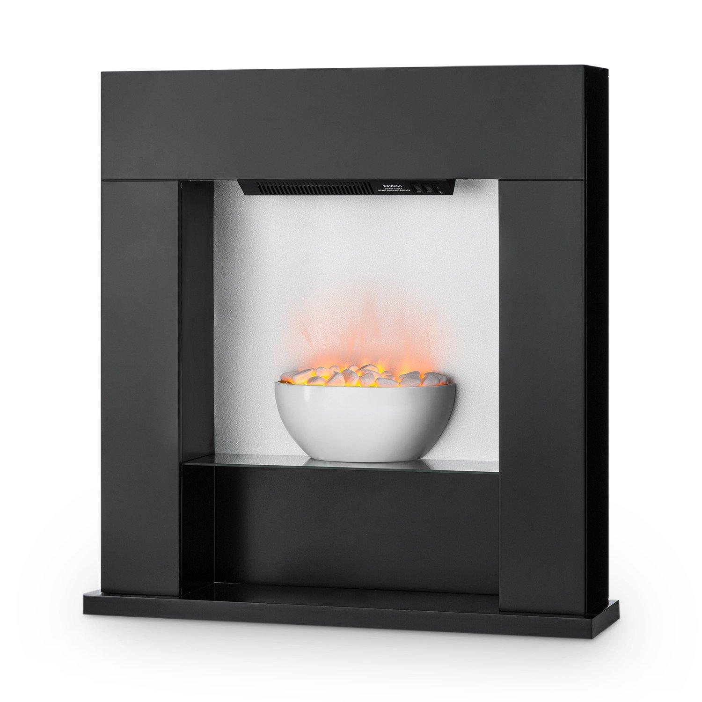 Klarstein Studio-8 • Elektrischer Kamin • Heizlüfter • Elektrokamin • Flammenillusion • unabhängig von Heizlüfter • 1000/2000 Watt • Lounge-Stil • LED-Beleuchtung • Überhitzungsschutz • schwarz