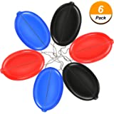 Tatuo 6 Pieces Oval Squeeze Coin Purse Rubber Coin Change Holder with Chain (Black, Red, Navy Blue)