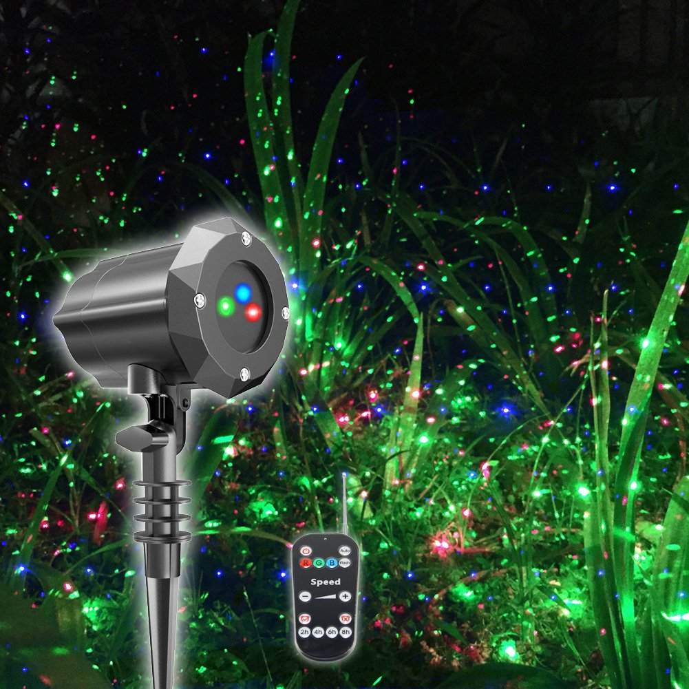 Poeland Outdoor Garden Laser Lights Waterproof Christmas Projector Lighting with Security Lock 3 Color Red Green Blue
